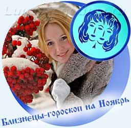 Близнецы - гороскоп на ноябрь, девушка, снег, калина.