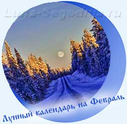 Лунный календарь на февраль - дорога, лес в снегу, луна