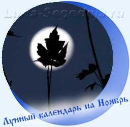 Лунный календарь на ноябрь - листок на фоне Луны