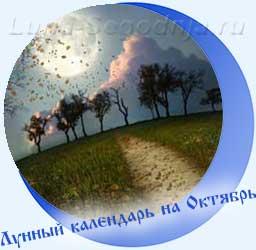 Лунный календарь на октябрь - дорога, желтые листья, Луна