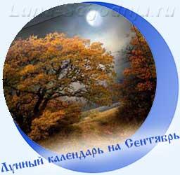 Лунный календарь на сентябрь - желтые листья на деревьях, Луна
