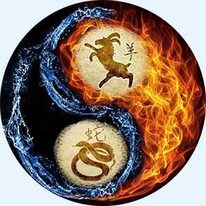 Мужчина-Коза(Овца) и женщина-Змея