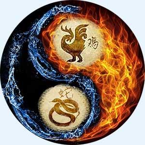 Мужчина-Петух и женщина-Змея