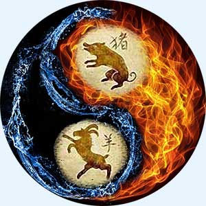 Мужчина-Свинья (Кабан) и женщина-Коза (Овца)