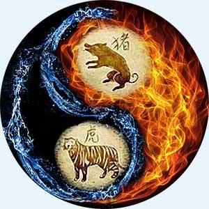 Мужчина-Свинья (Кабан) и женщина-Тигр